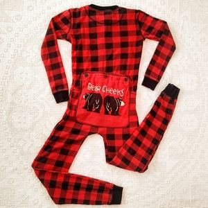 Bear Cheeks Buffalo Check Plaid Union Suit Pajamas